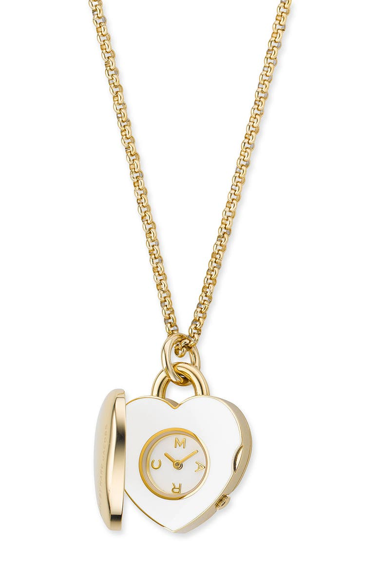 MARC BY MARC JACOBS Heart Locket Watch Long Necklace, Main, color, 710