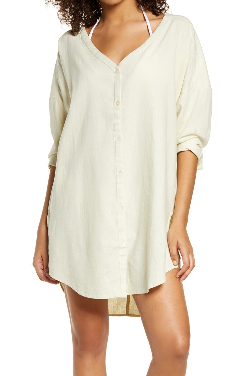 CHELSEA28 Oversize Linen Blend Cover-Up Shirt, Main, color, IVORY SHADOW