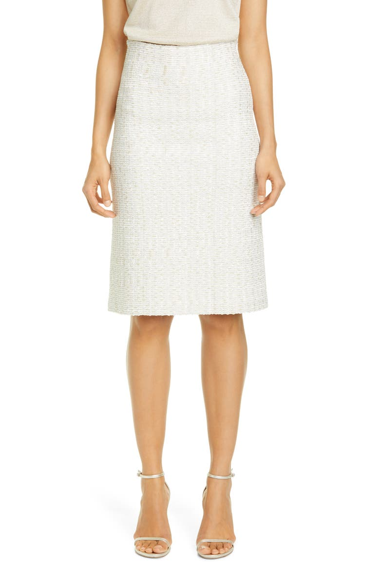 ST. JOHN EVENING Structured Caged Inlay Knit Skirt, Main, color, LIGHT GOLD/ SILVER
