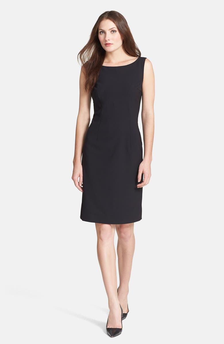 BOSS 'Dinoma' Stretch Wool Sheath Dress, Main, color, 001