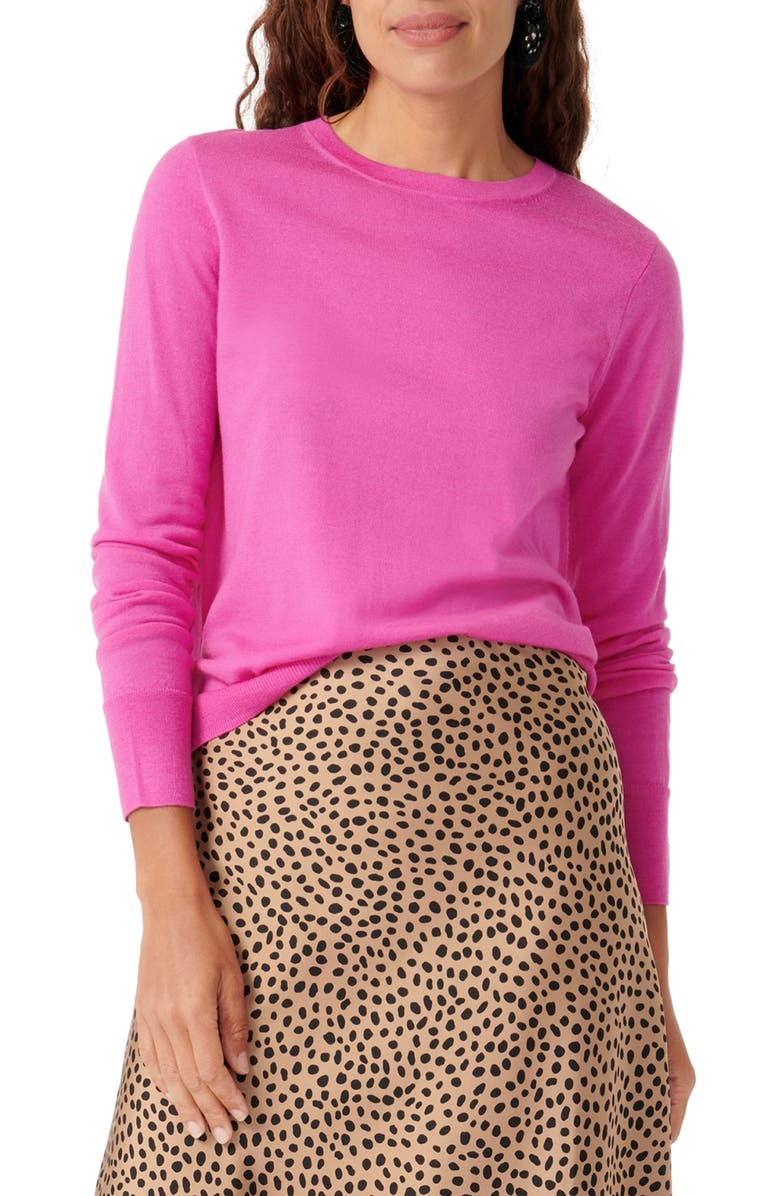 J.CREW Margot Crewneck Re-Imagined Wool Sweater, Main, color, VIVID FLAMINGO