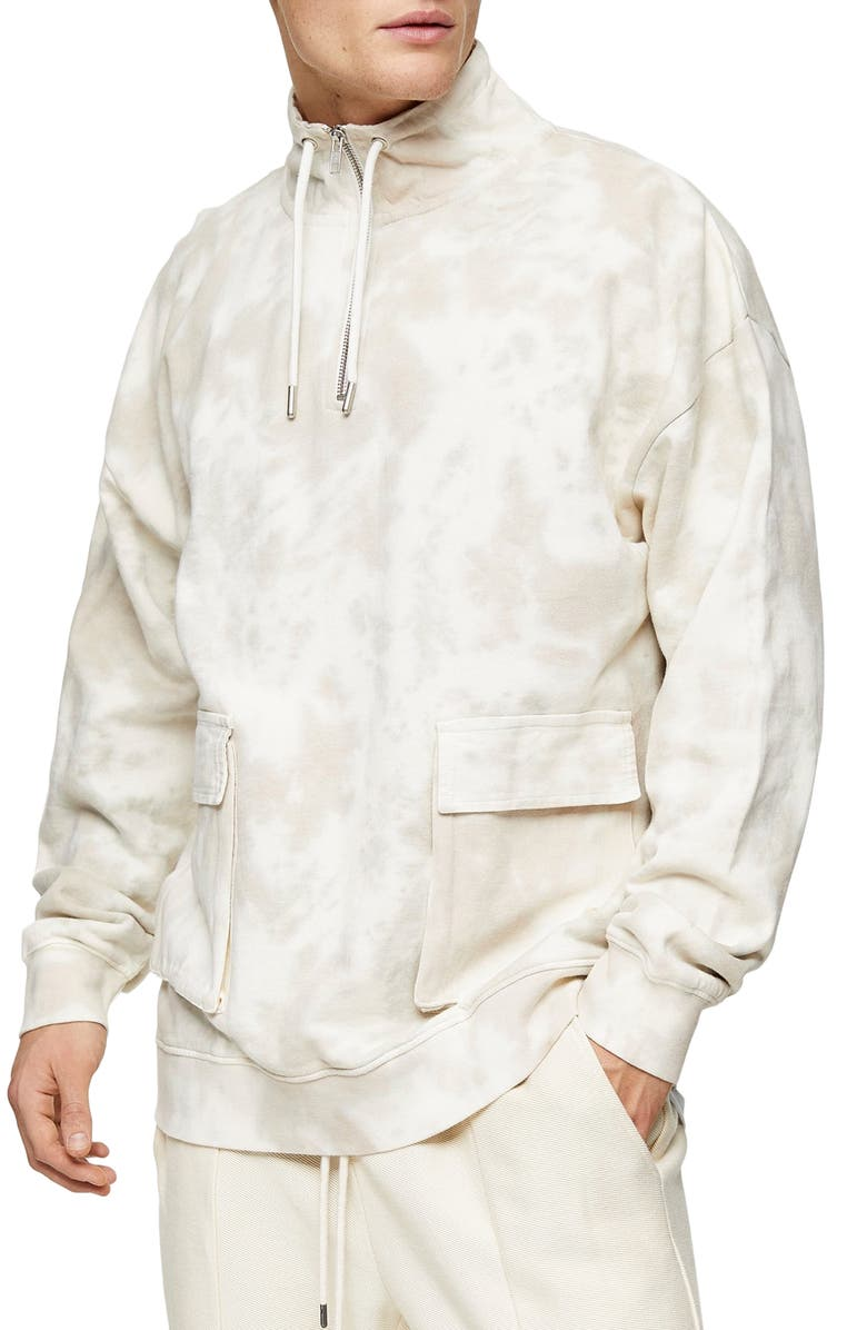 TOPMAN Western Utility Marbled Quarter Zip Pullover, Main, color, 250
