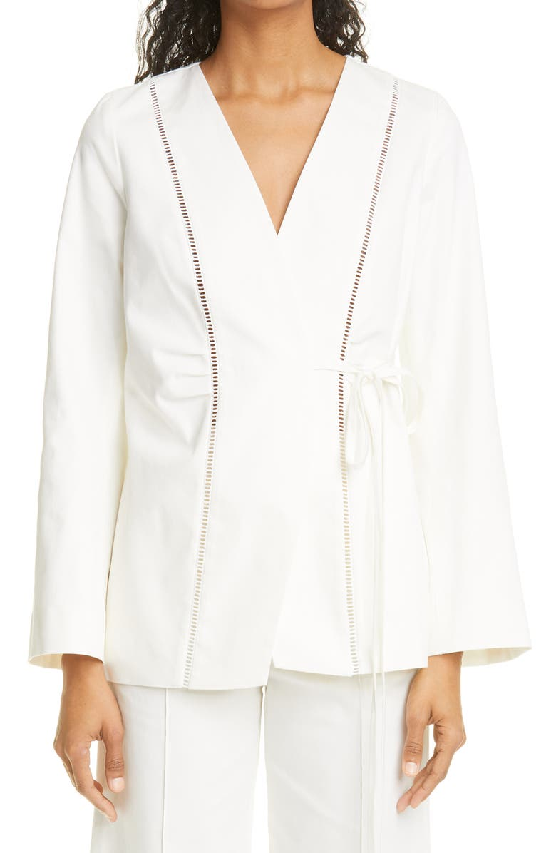 MERLETTE Alta Side Tie Stretch Cotton Twill Jacket, Main, color, IVORY
