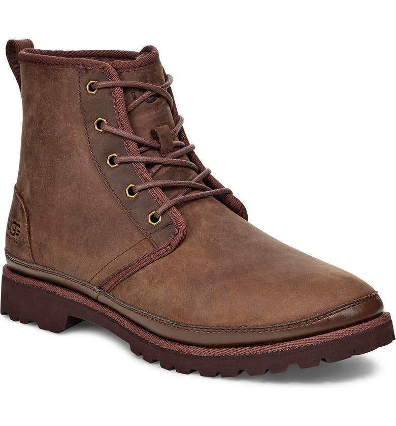UGG<SUP>®</SUP> Harkland Waterproof Plain Toe Boot, Main, color, BROWN