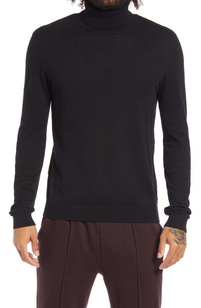 TOPMAN Solid Cotton Turtleneck Sweater, Main, color, 001