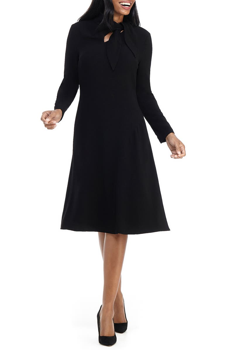 MAGGY LONDON Long Sleeve Tie Neck Dress, Main, color, 001
