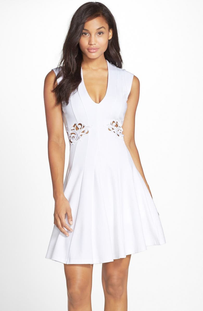 FRENCH CONNECTION 'Marie' Embroidered Stretch Fit & Flare Dress, Main, color, White