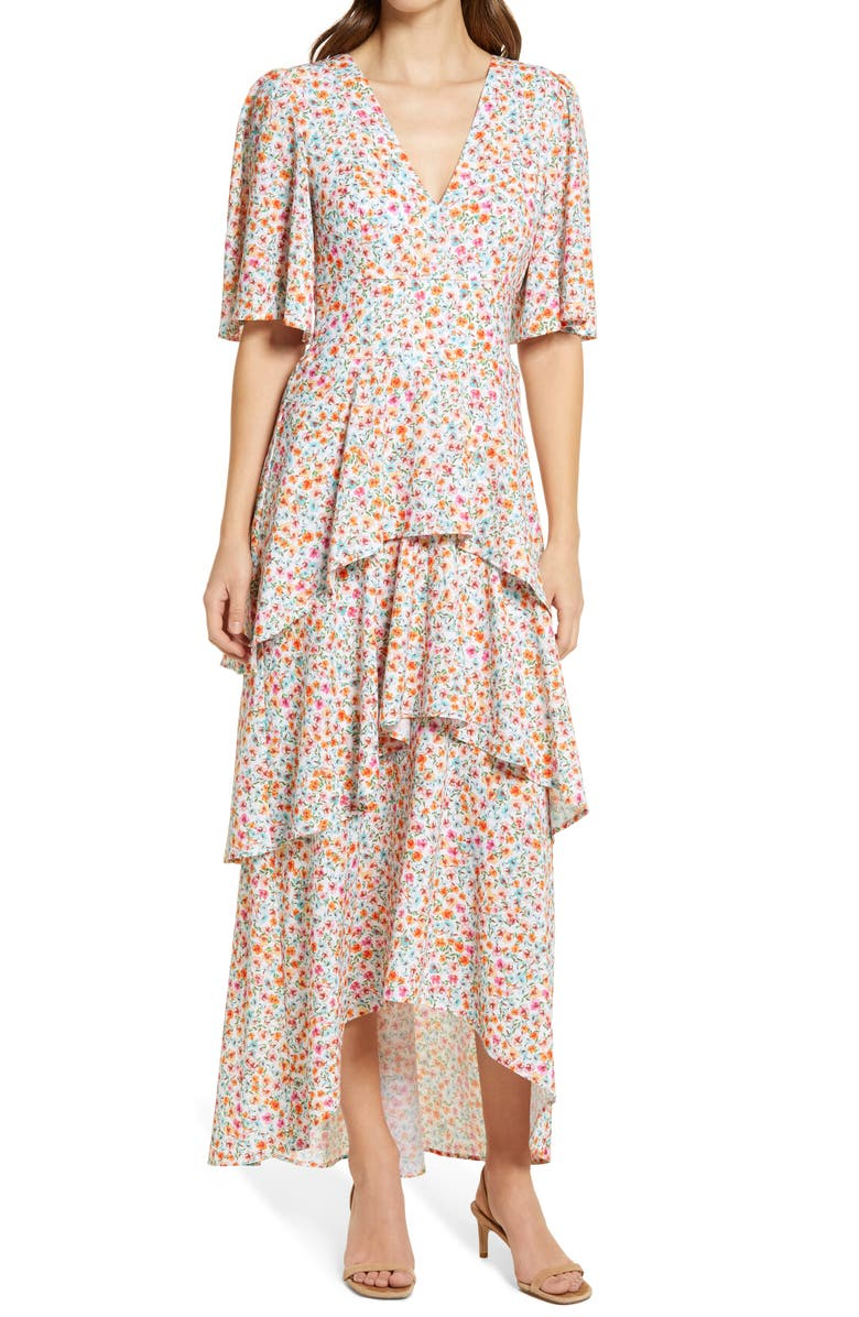 FOURTEENTH PLACE Floral Tiered High-Low Maxi Dress, Main, color, SUMMER MULTI DITSY