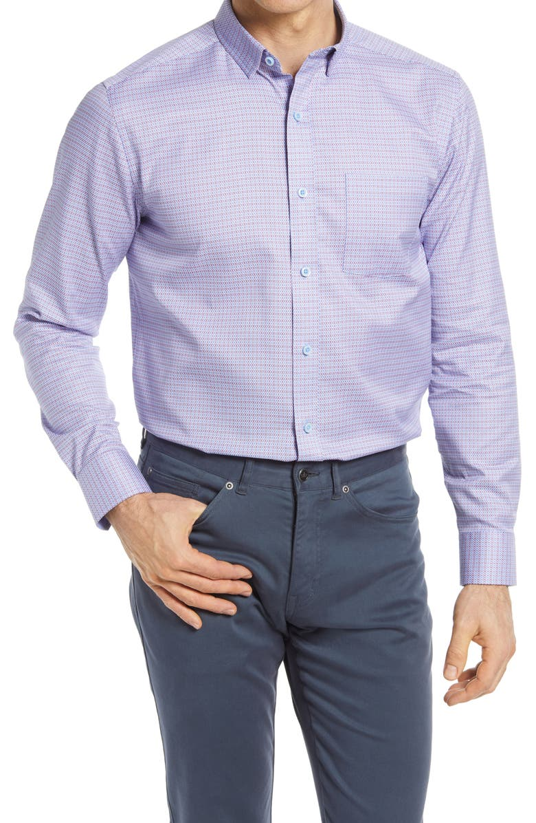 JOHNSTON & MURPHY Geometric Button-Up Shirt, Main, color, PURPLE/ BLUE