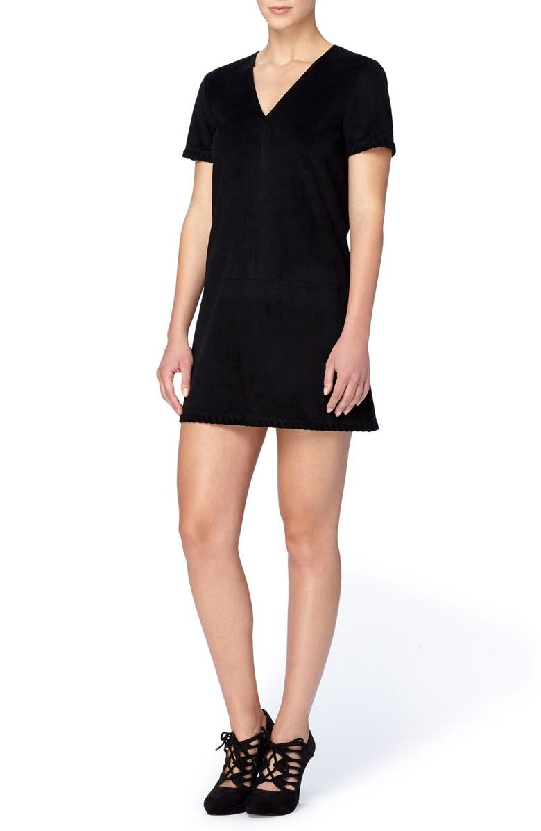 CATHERINE CATHERINE MALANDRINO 'Marcella' Whipstitch Detail Faux Suede Shift Dress, Main, color, 003