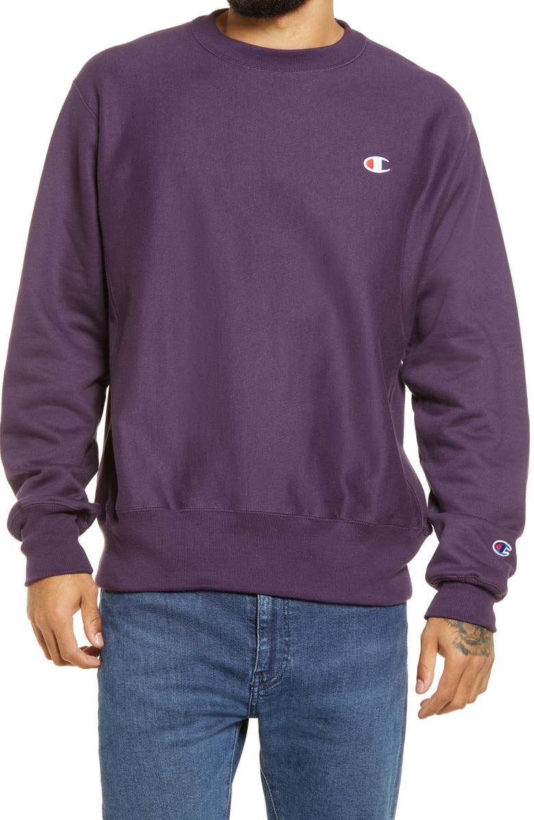 CHAMPION Reverse Weave<sup>®</sup> Crew Sweatshirt, Main, color, PURPLE PEBBLE