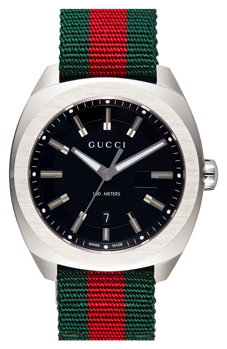 GUCCI Stripe Fabric Strap Watch, 40mm, Main, color, SILVER