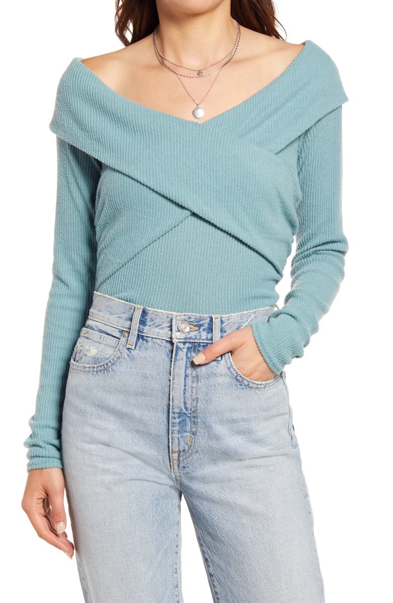 FREE PEOPLE Marley Off the Shoulder Rib Top, Main, color, JUNIPER BERRY