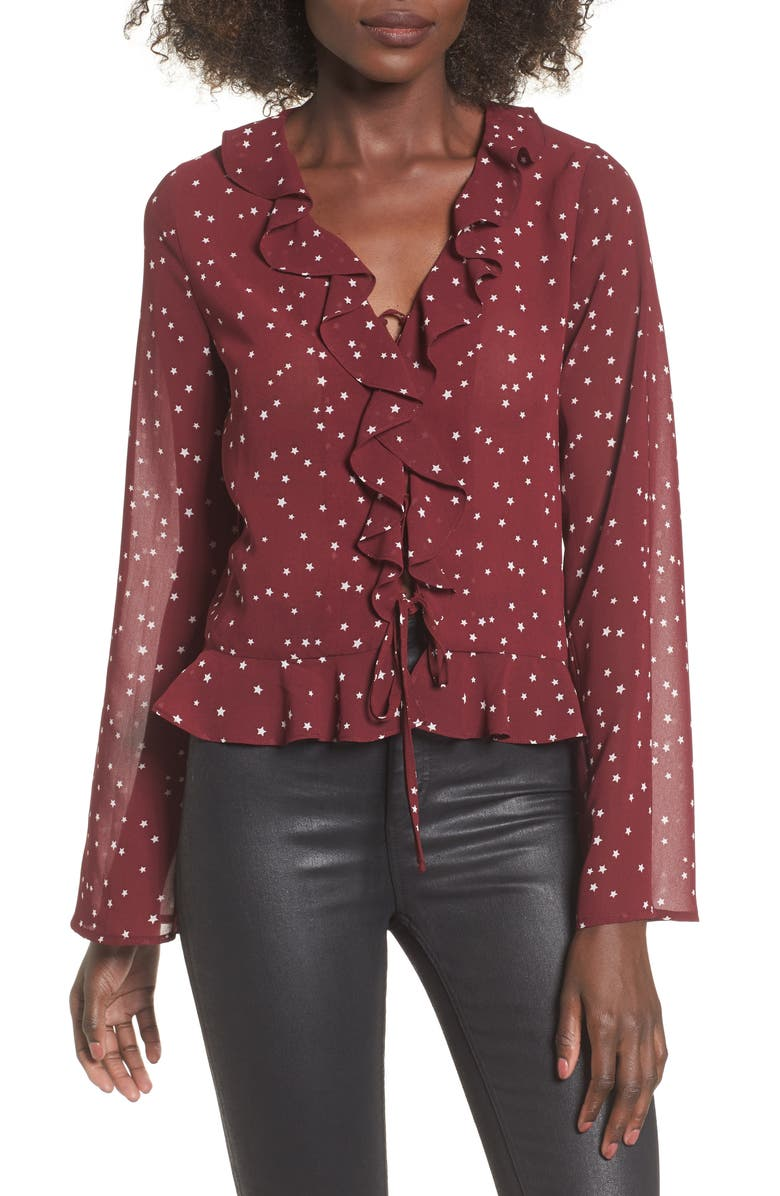 ELODIE Star Print Ruffle Lace-Up Top, Main, color, 930
