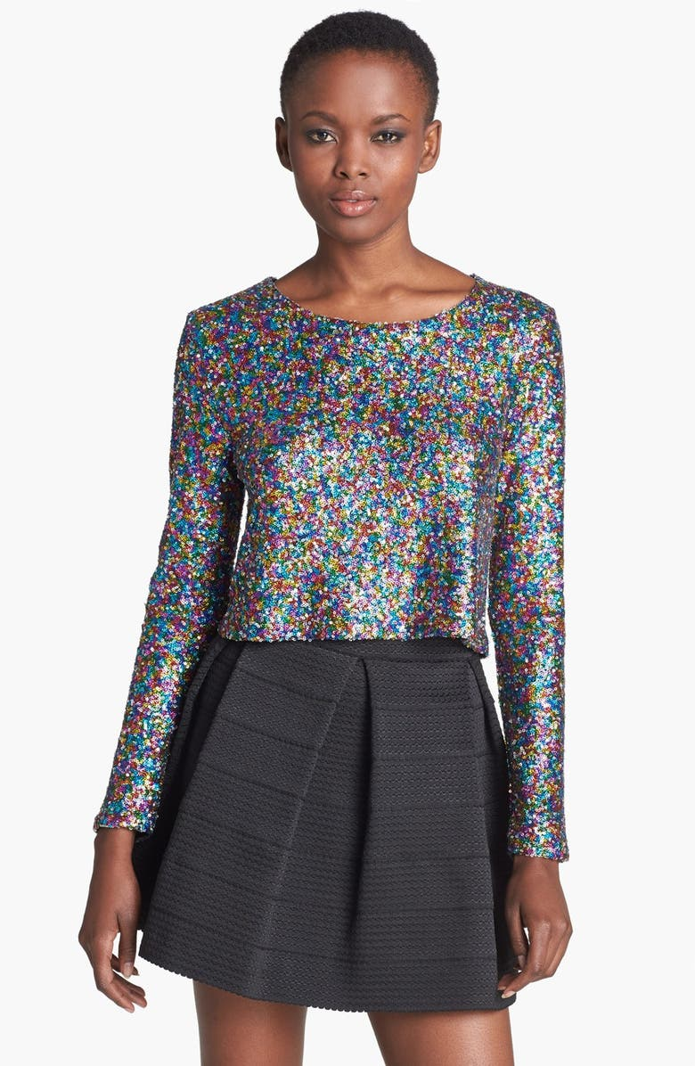 MINKPINK 'Glamour Glitter' Sequin Top, Main, color, 500