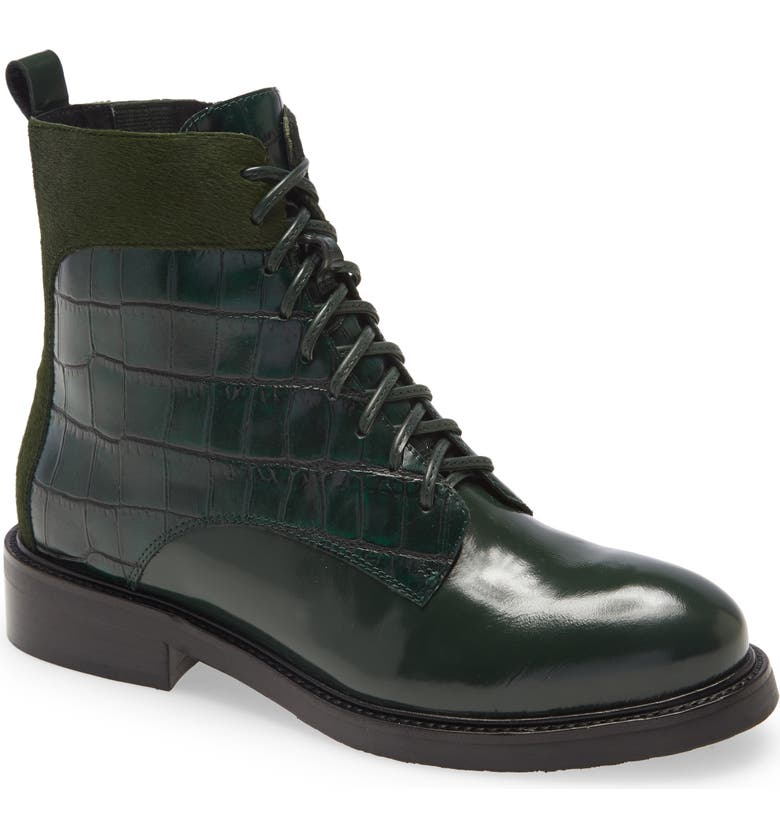 JEFFREY CAMPBELL Fischer Lace-Up Leather Boot, Main, color, GREEN EXOTIC MULTI