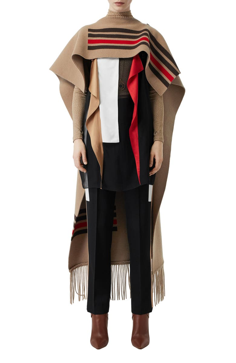 BURBERRY Stripe Wool & Cashmere Cape, Main, color, 250