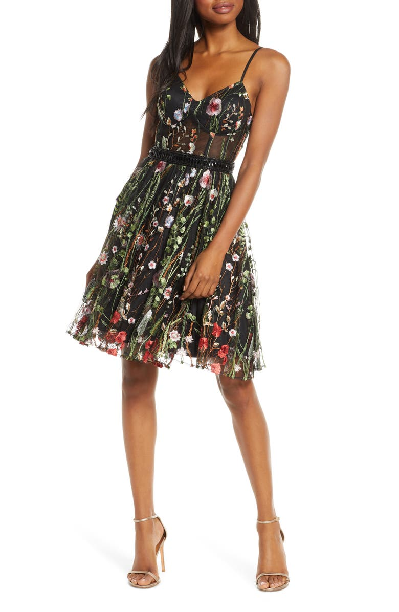 MAC DUGGAL Embroidered Fit & Flare Cocktail Dress, Main, color, BLACK MULTI