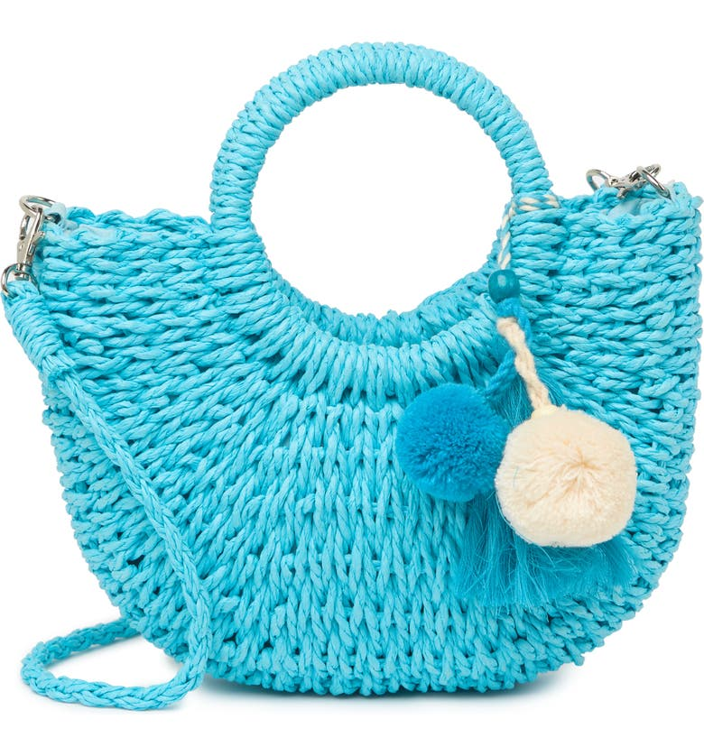 MOST WANTED USA Top Handle Straw Crossbody Bag, Main, color, BLUE