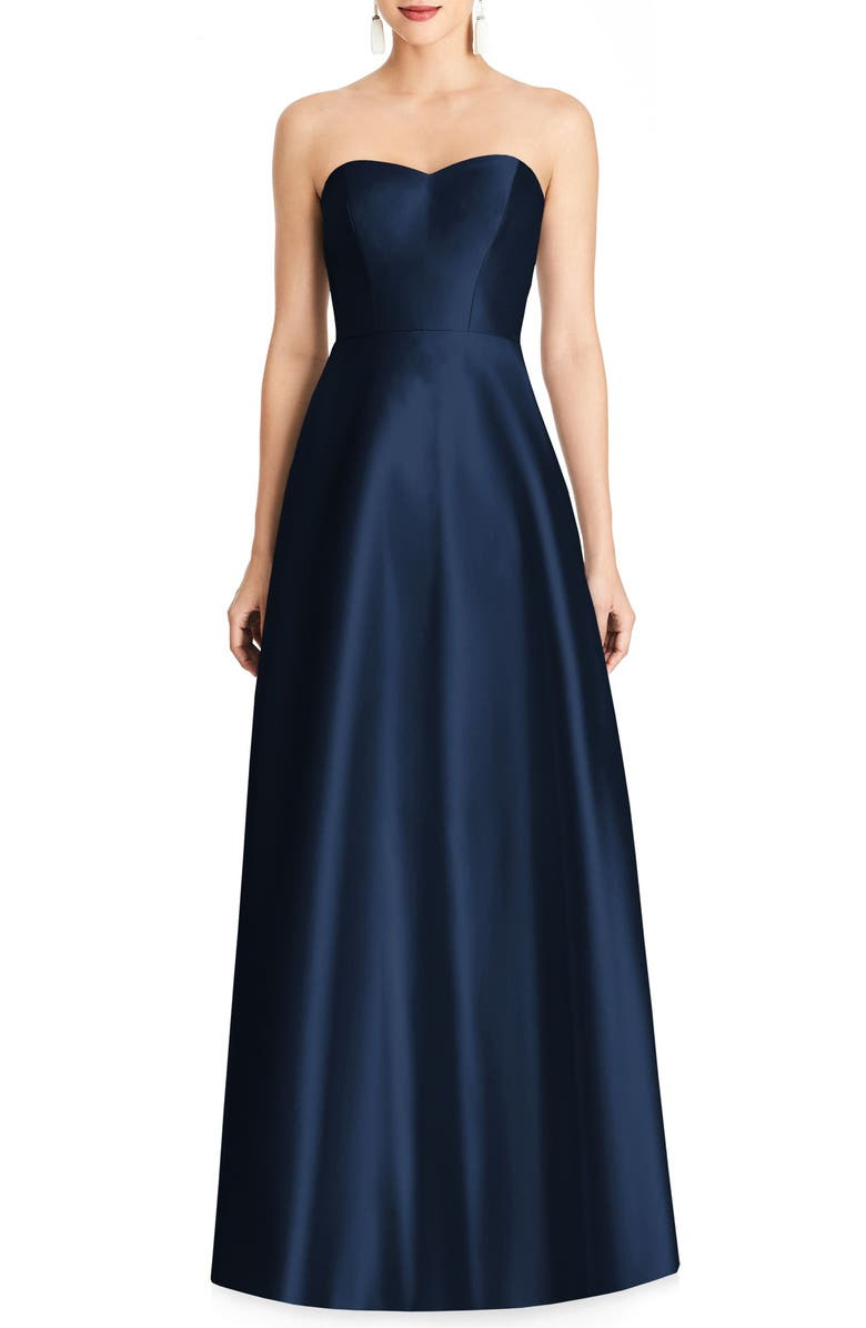 ALFRED SUNG Strapless Satin A-Line Gown, Main, color, MIDNIGHT