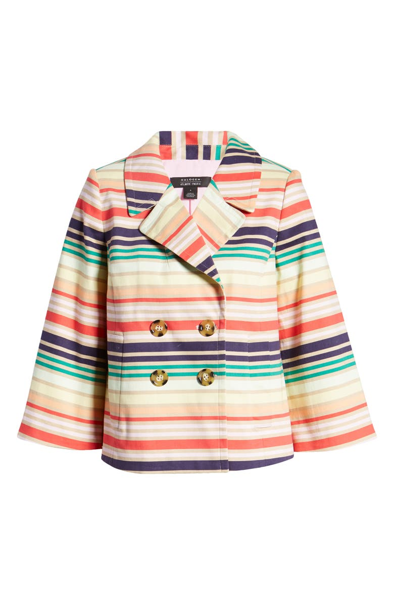 HALOGEN<SUP>®</SUP> x Atlantic-Pacific Stripe Short Trench Jacket, Main, color, NAVY MULTI HORIZONTAL STRIPE