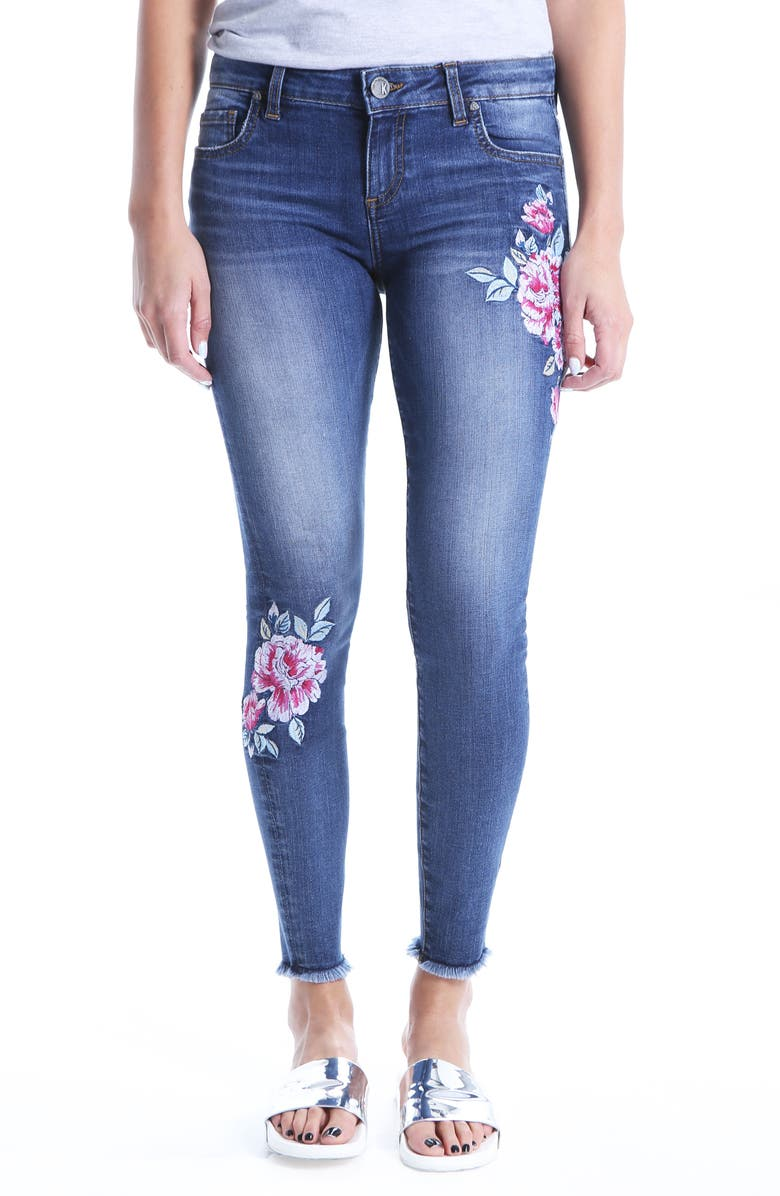 KUT FROM THE KLOTH Connie Embroided Frayed Hem Ankle Skinny Jeans, Main, color, ASSIGNED