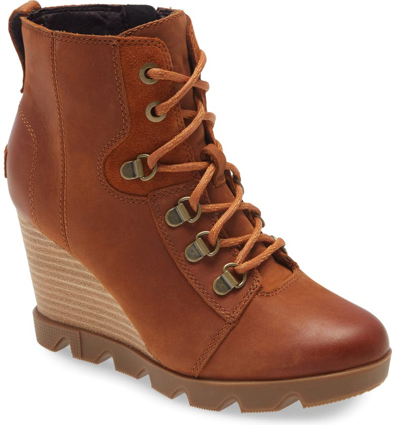 SOREL Joan Uptown Waterproof Wedge Bootie, Main, color, ICED TEA