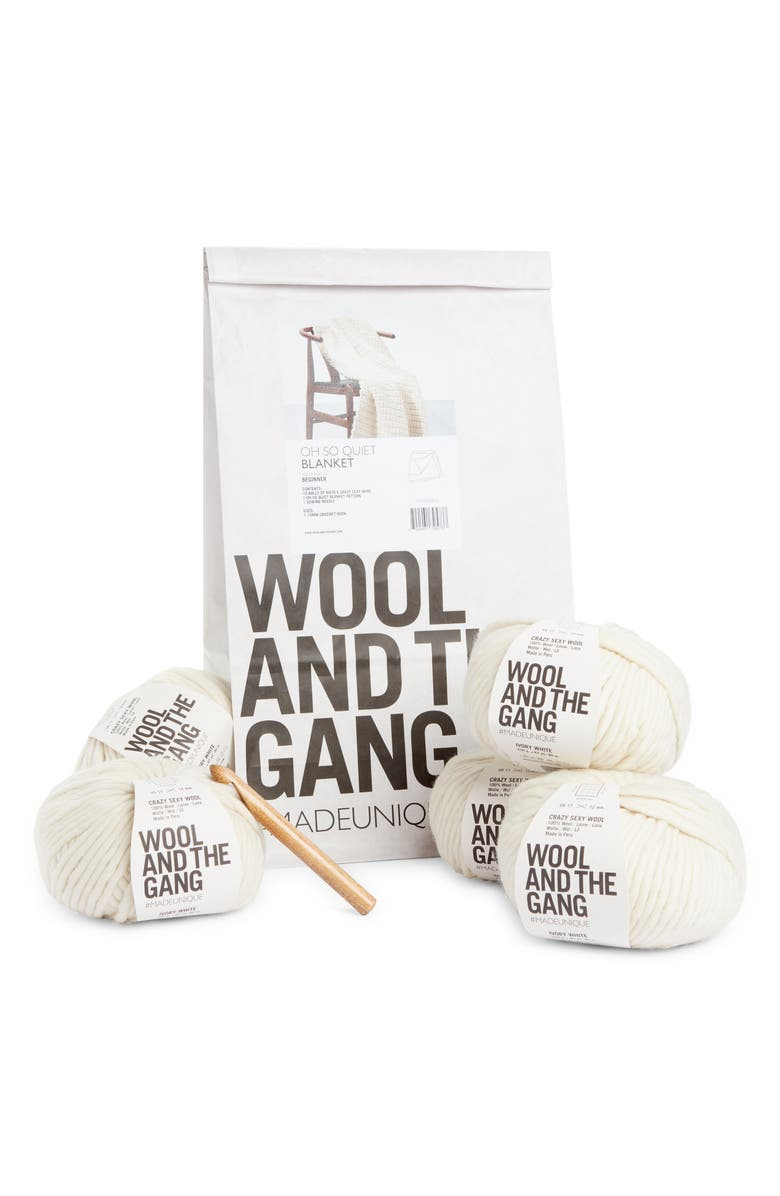 WOOL AND THE GANG Oh So Quiet Throw Blanket Crochet Kit, Main, color, 100