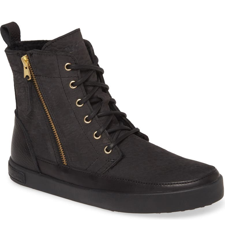 BLACKSTONE 'CW96' Genuine Shearling Lined Sneaker Boot, Main, color, BLACK SOLID LEATHER