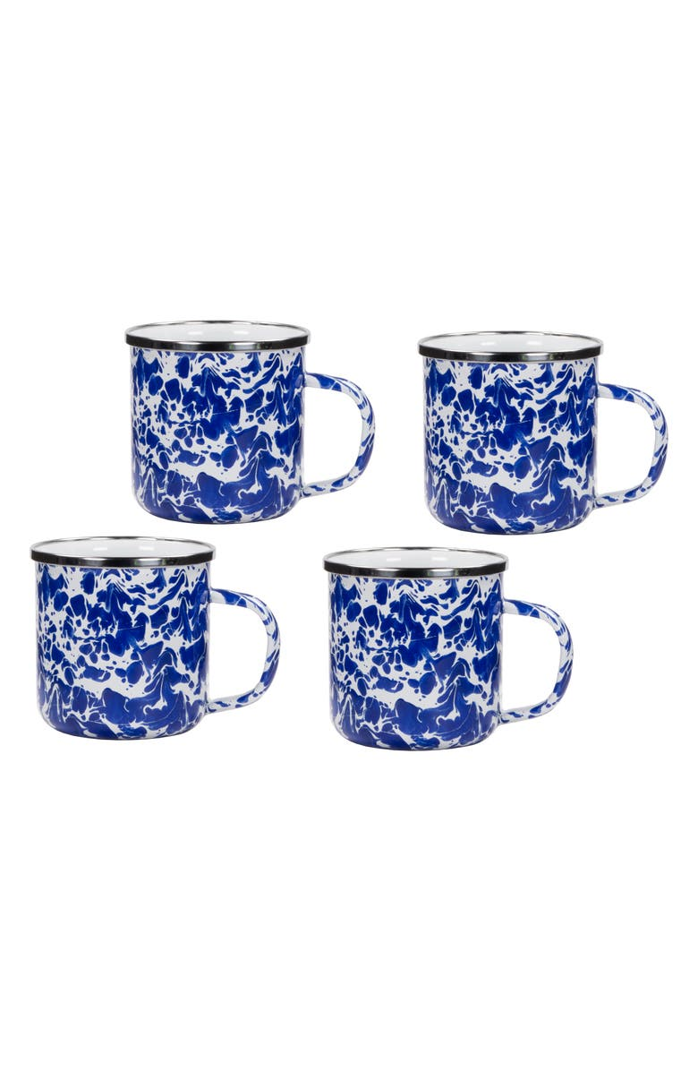 GOLDEN RABBIT Enamelware Set of 4 Enameled Mugs, Main, color, COBALT SWIRL