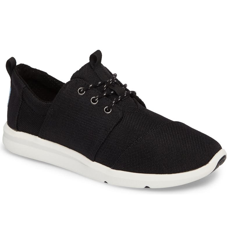 TOMS Del Ray Sneaker, Main, color, BLACK POLYESTER