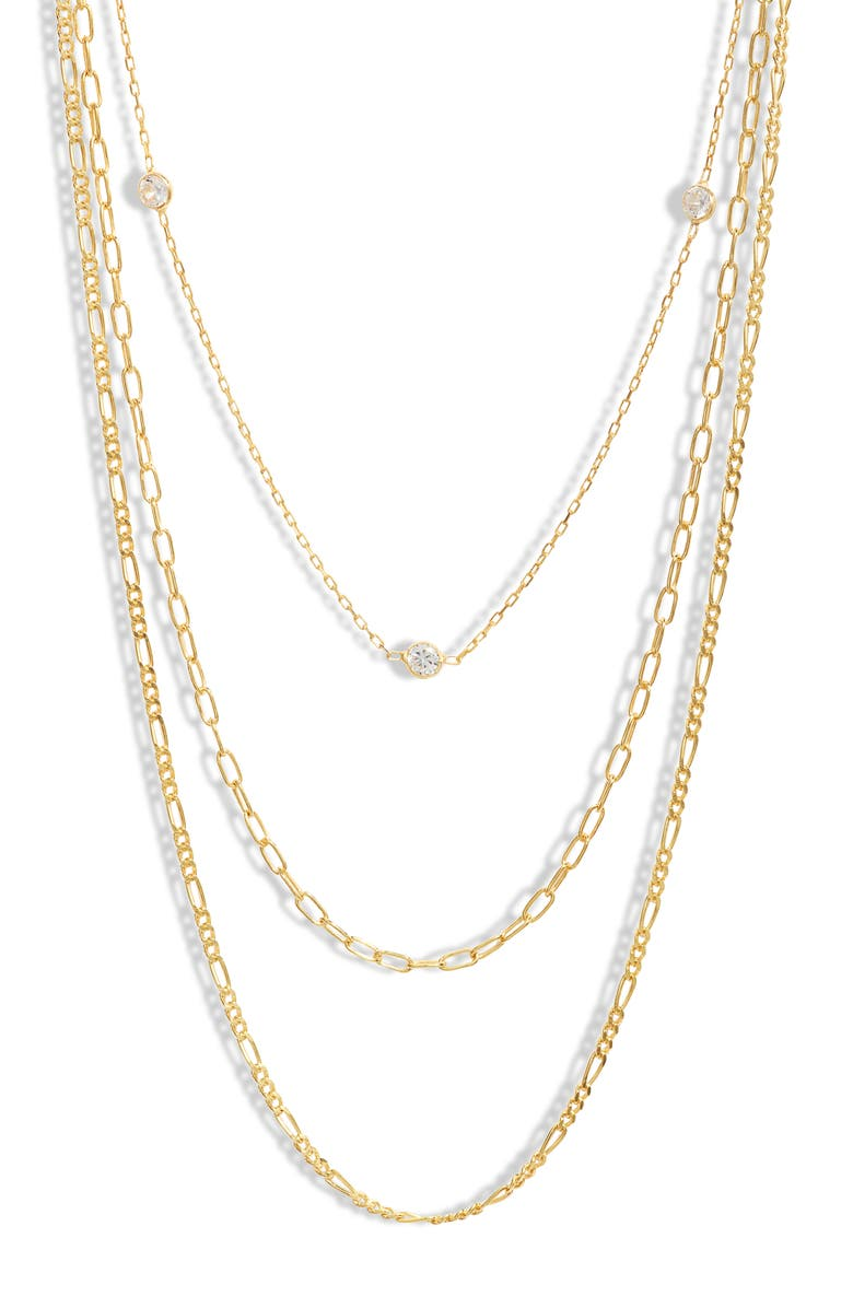 ARGENTO VIVO STERLING SILVER Layered Necklace, Main, color, GOLD