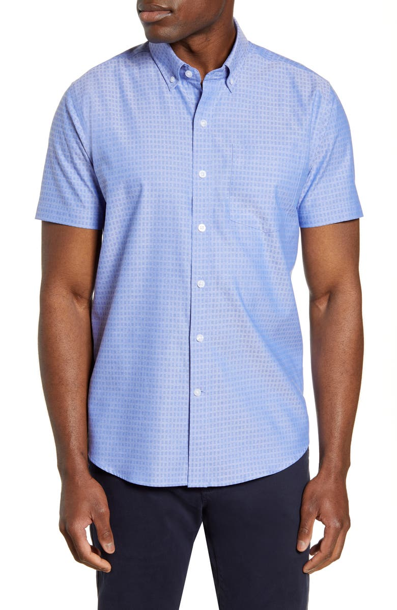 CUTTER & BUCK Strive Three Bars Short Sleeve Button-Down Sport Shirt, Main, color, CHELAN