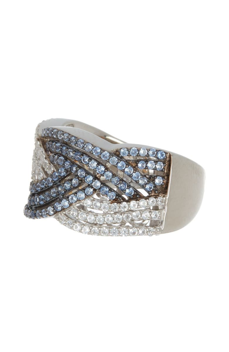 SUZY LEVIAN Sterling Silver Sapphire Crossover Ring, Main, color, BLUE
