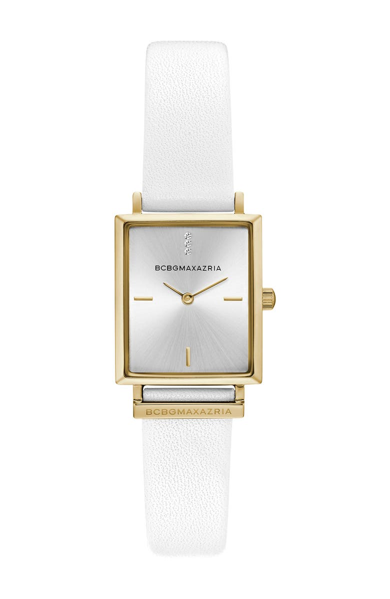 BCBG Women's Crystal Embellished Leather Strap Watch, 22x33mm, Main, color, WHITE