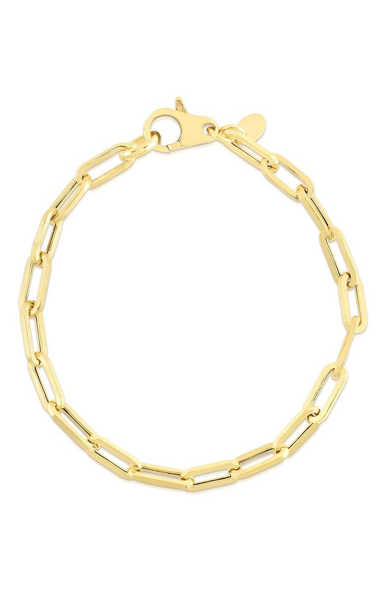 SPHERA MILANO 14K Yellow Gold Plated Sterling Silver Paper Clip Chain Bracelet, Main, color, YELLOW GOLD