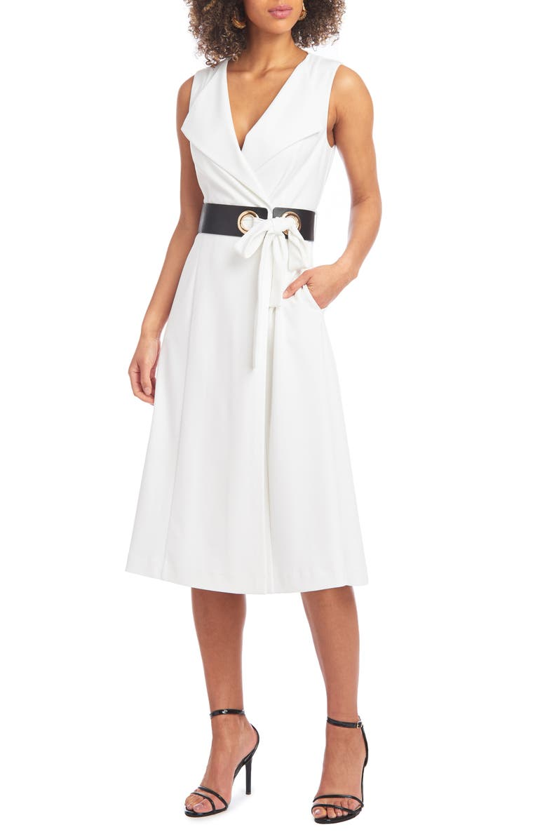 CHRISTIAN SIRIANO Belted Fit & Flare Midi Dress, Main, color, 900