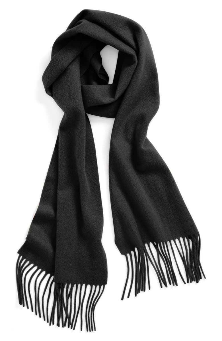 NORDSTROM Solid Woven Cashmere Scarf, Main, color, BLACK
