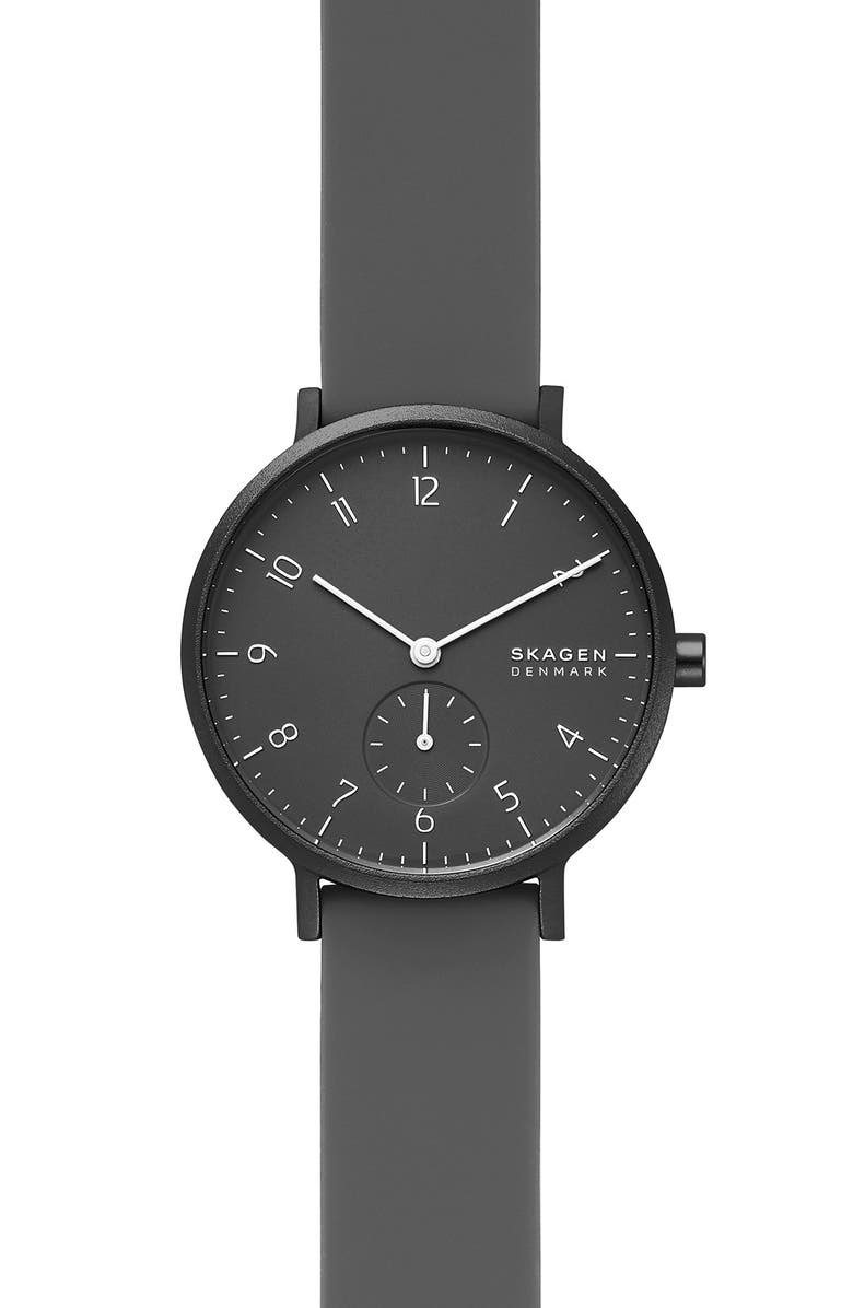 SKAGEN Aaren Kulør Rubber Strap Watch, 36mm, Main, color, 001