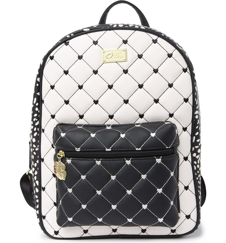 LUV BETSEY BY BETSEY JOHNSON Floral Print Backpack, Main, color, B/W POLKA DOT