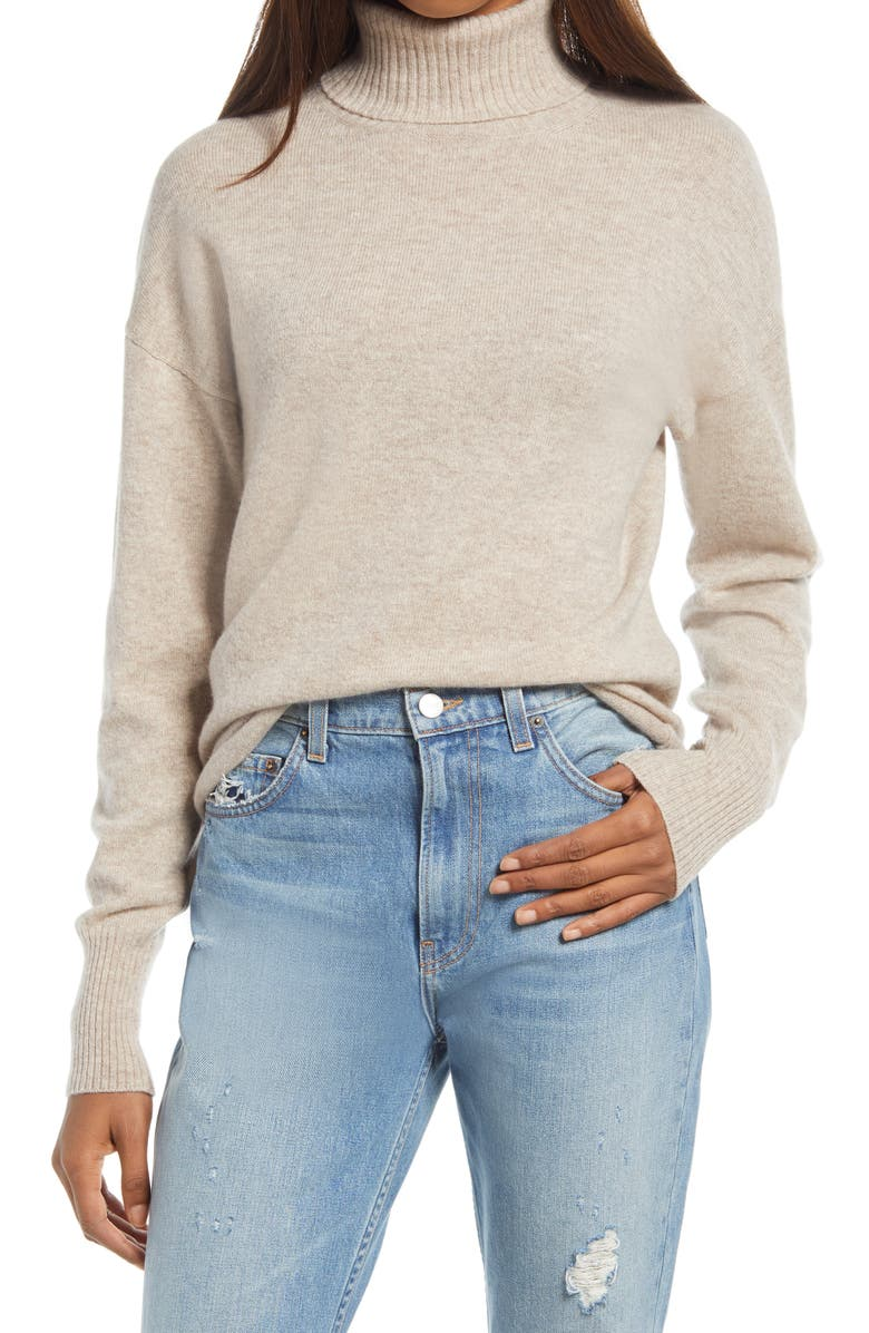 REFORMATION Cashmere Boyfriend Turtleneck Sweater, Main, color, OATMEAL