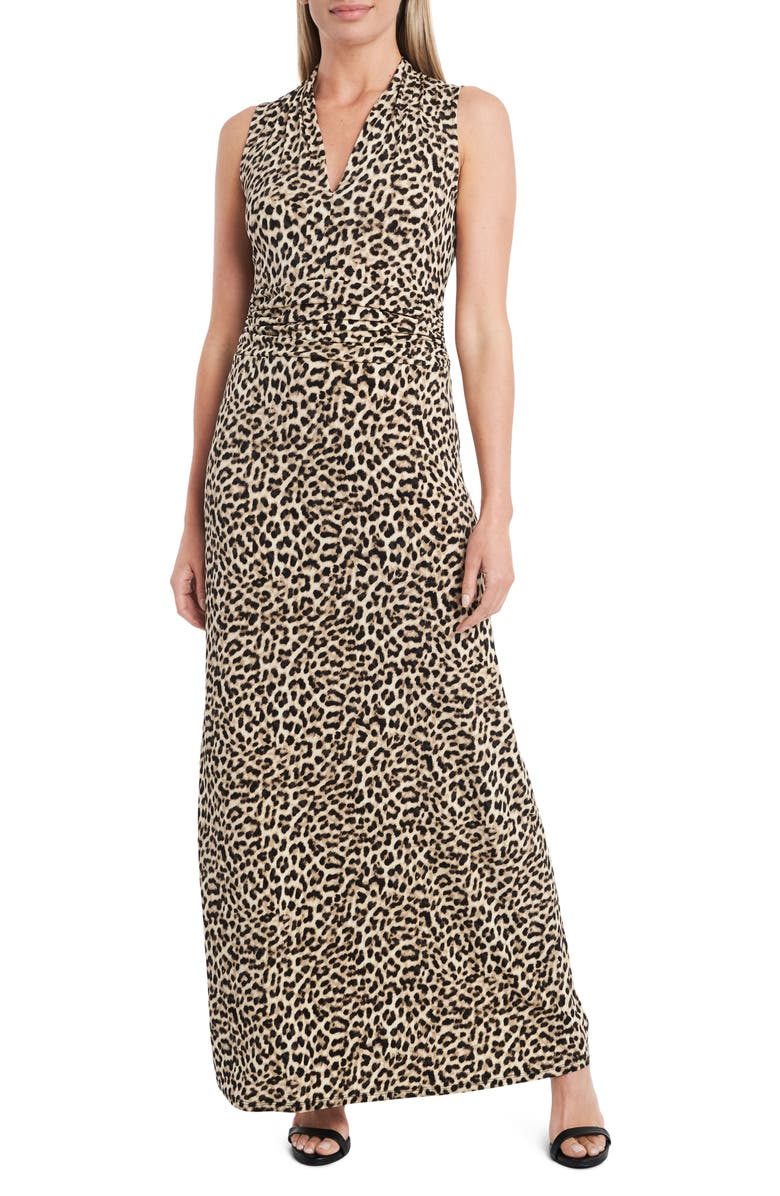 VINCE CAMUTO Nouveau Leopard Jersey Maxi Dress, Main, color, RICH BLACK