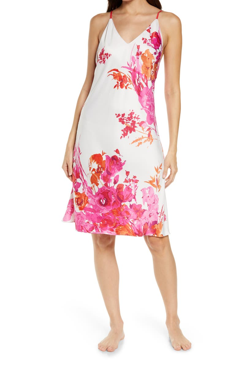 NATORI Bloom Floral Satin Chemise, Main, color, ALABASTER MULTI
