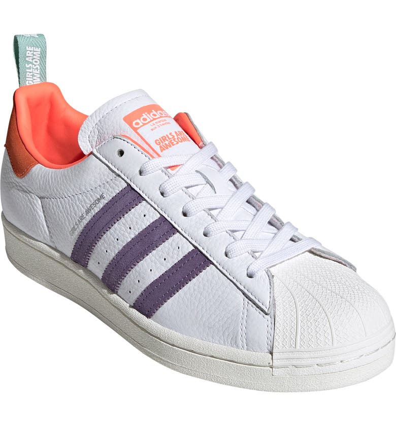 ADIDAS x Girls Are Awesome Energy Superstar Plateau Sneaker, Main, color, WHITE/ ICEY PINK/ CORAL
