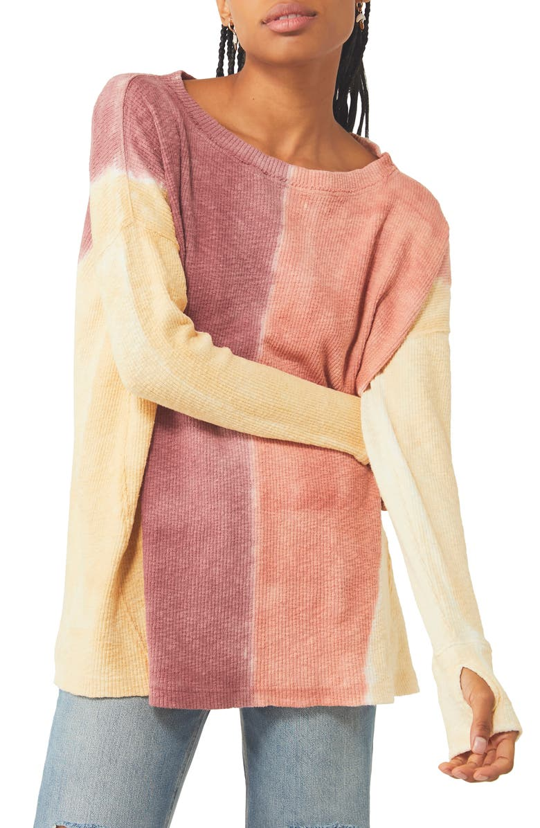 FREE PEOPLE Logan Ribbed Tunic Top, Main, color, STAR ANISE COMBO