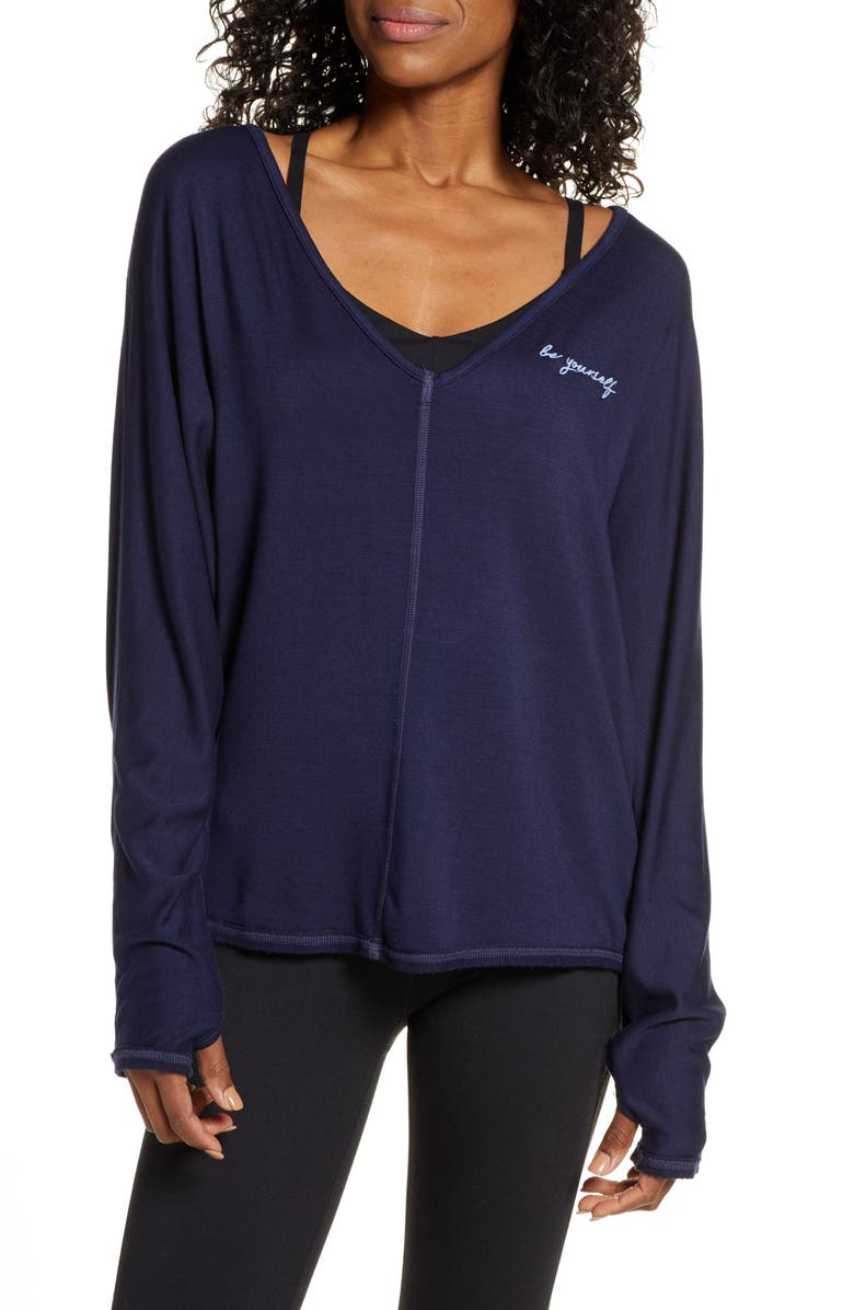 GOOD HYOUMAN Ann Be Yourself Embroidered Pullover, Main, color, 400