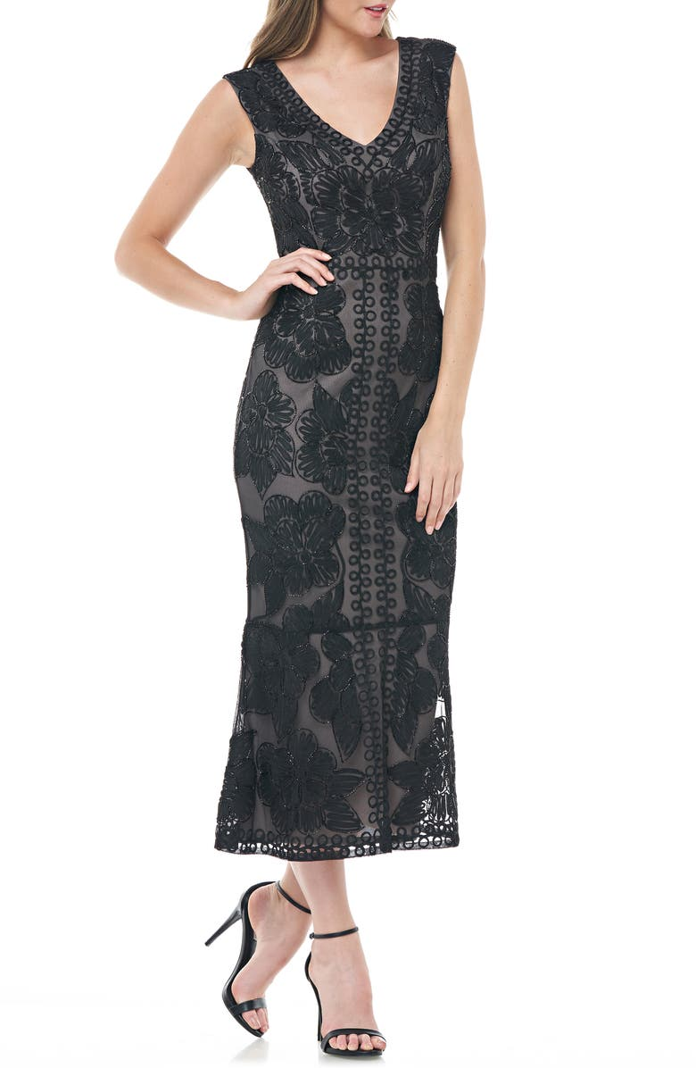 JS COLLECTIONS Beaded V-Neck Midi Dress, Main, color, 001