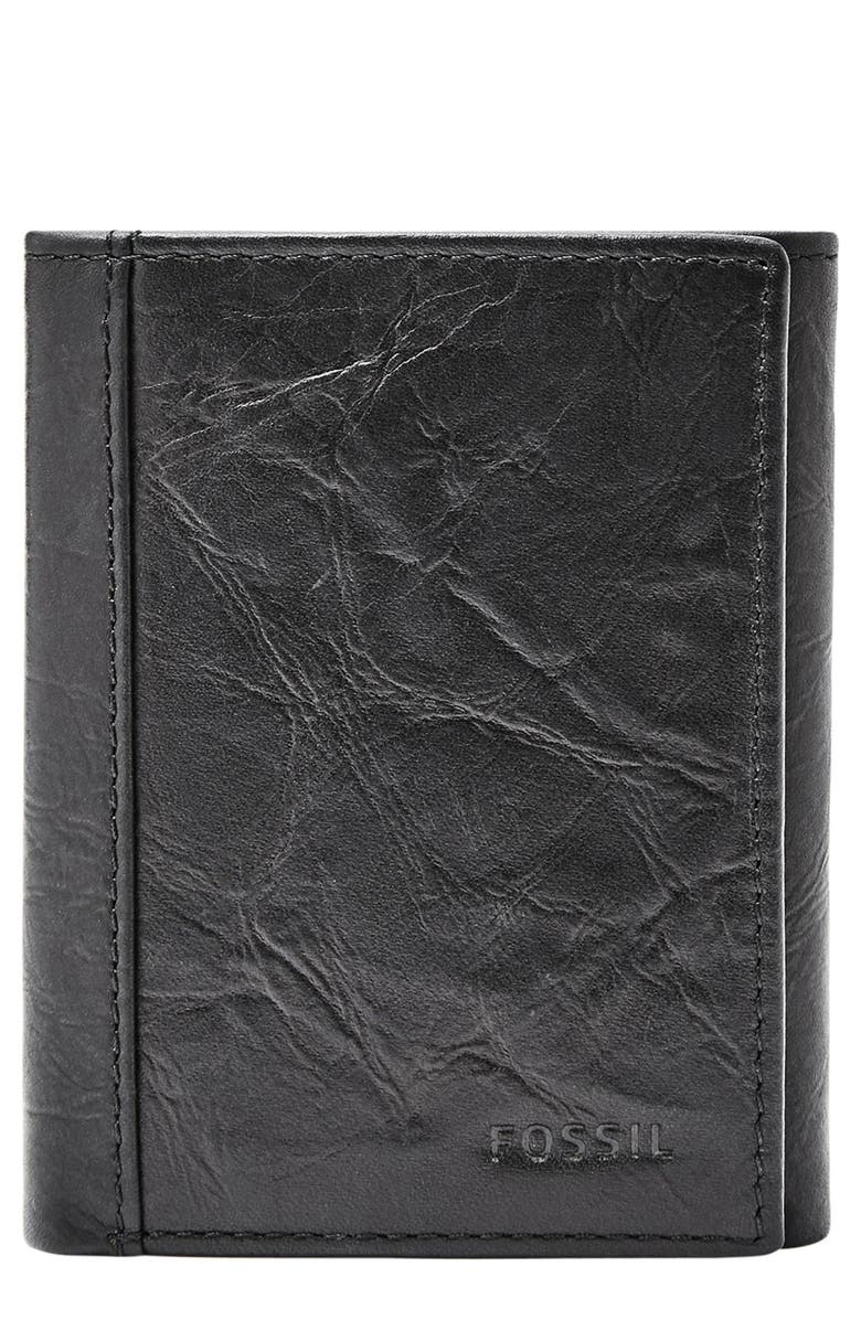 FOSSIL Neel Leather Wallet, Main, color, 001