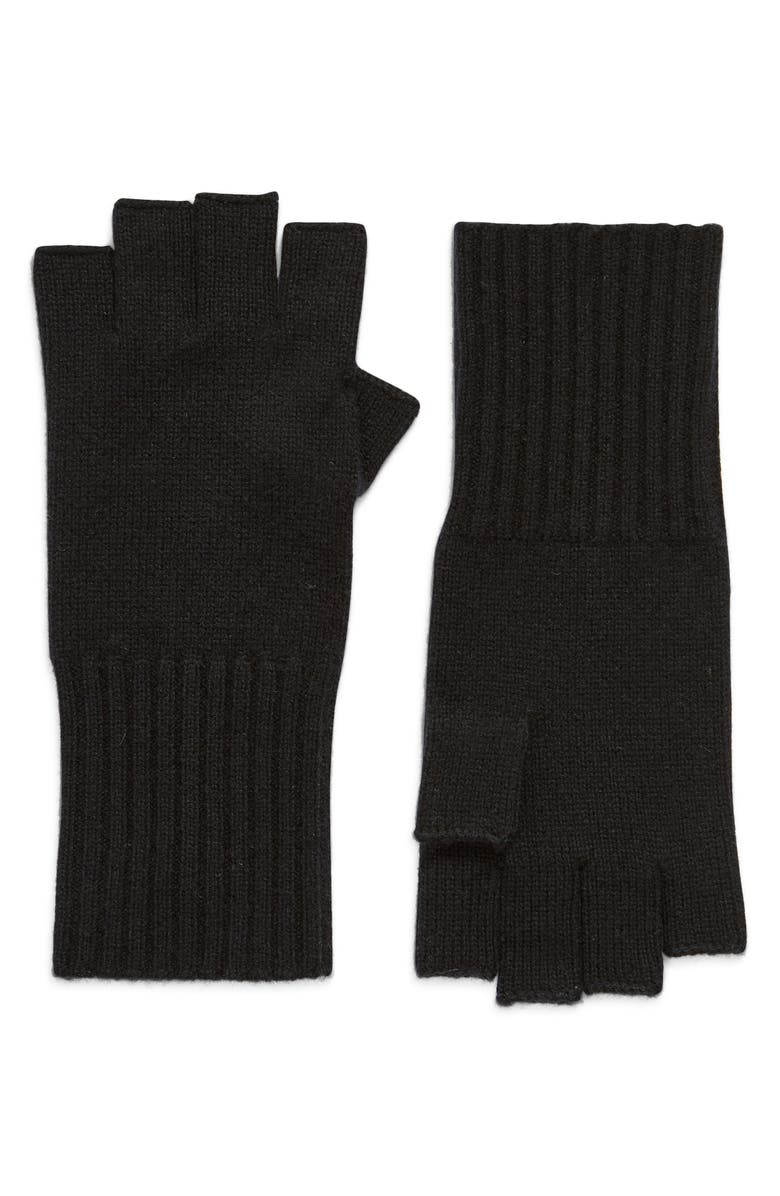HALOGEN<SUP>®</SUP> Cashmere Fingerless Gloves, Main, color, 001