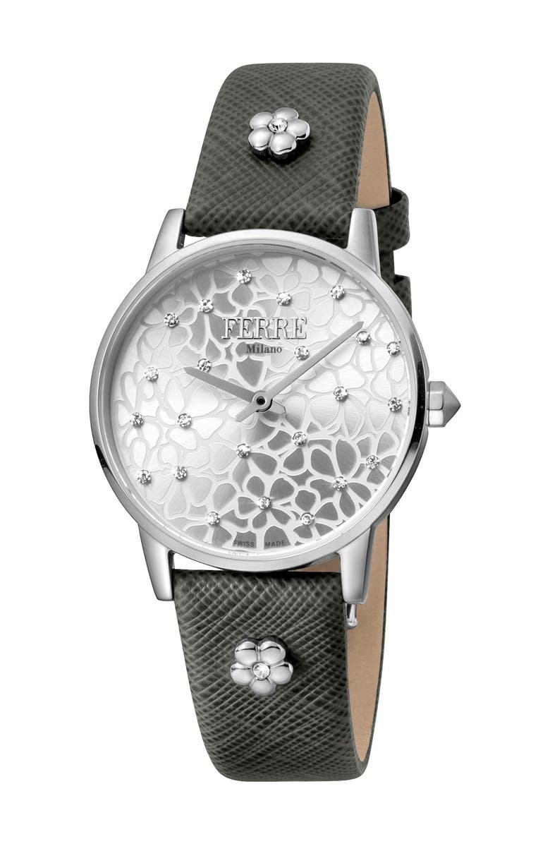 FERRE MILANO Women's Floral Dial Textured Leather Strap Watch, 32mm, Main, color, GREY